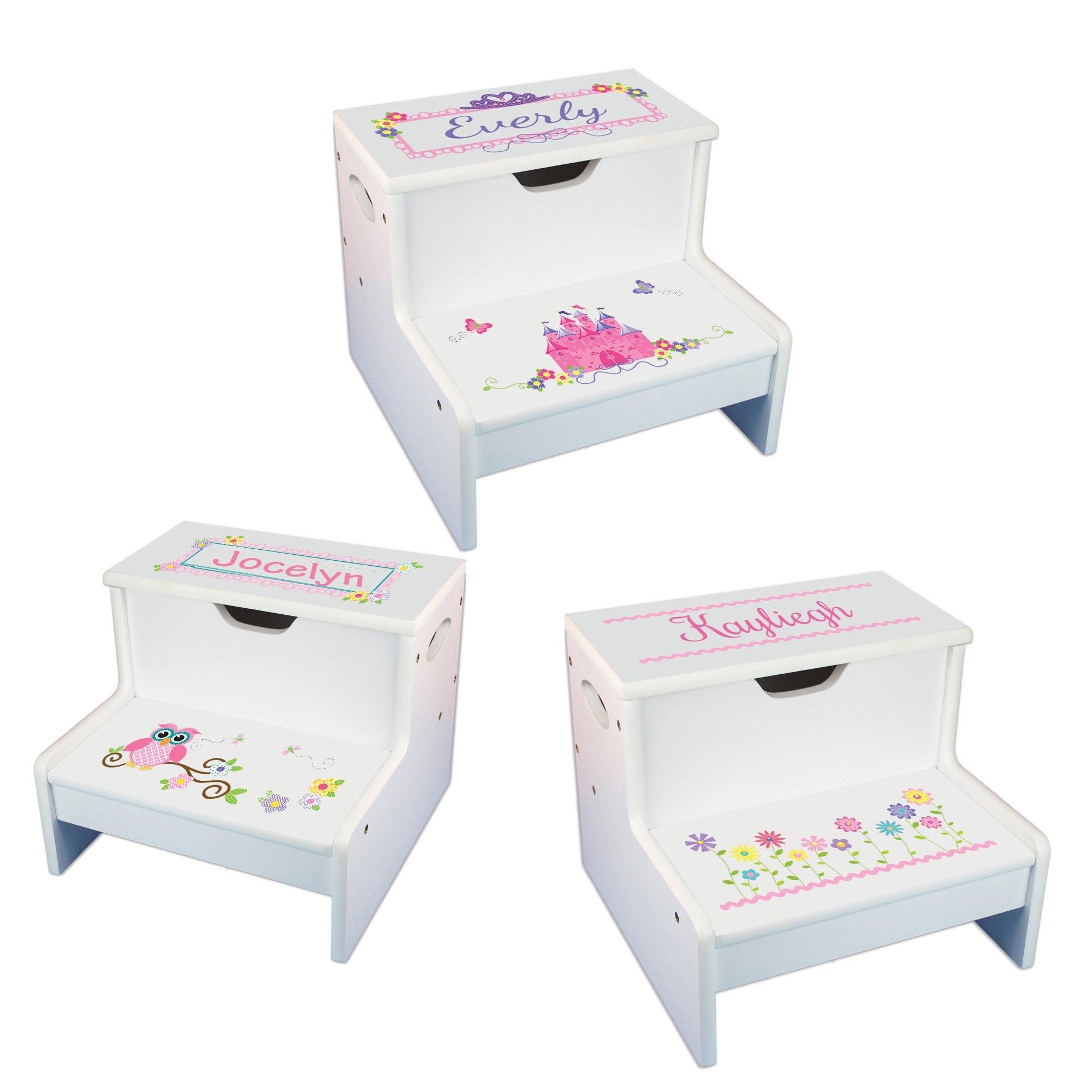 Girls Personalized Step Stool with Storage by MyBambino