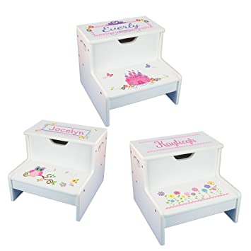 Girls Personalized Step Stool With Storage