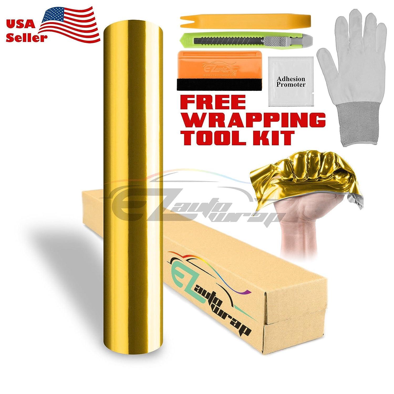 "*60/""x84/"" Supercast Easy Stretch Chrome Gold Car Vinyl Wrap Bubble Free Sticker"