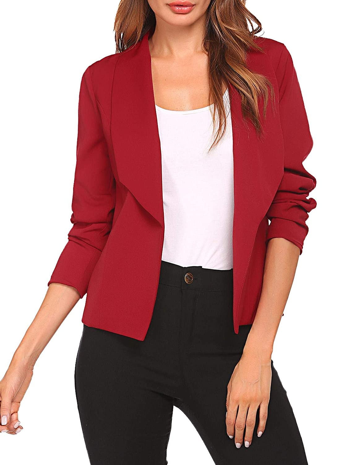 Women Solid Open Front Blazer Cardigans Long Sleeve Pockets Lapel Suit Jacket