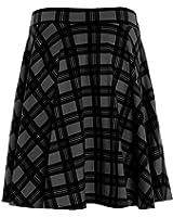 New Womens Flippy Skirt Plus Big Size Plain Skirt Tartan Skater Skirt UK 14-28