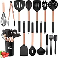 Silicone Cooking Utensil Set, 14pcs Kitchen Utensils Set Non-Stick Heat Resistant Cookware Stainless Steel Handle Cooking Tools Turner Tongs Spatula Spoon - BPA Free, Non Toxic