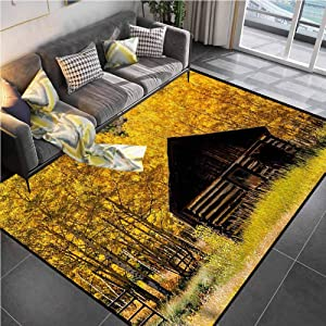 """Area Rug Rugs Print Large Floor Mat Autumn,Farmhouse in Aspen Tree Office Chair mat for Carpet for Living Dining Dorm Playing Room Bedroom 4'7""""x5'2"""""""