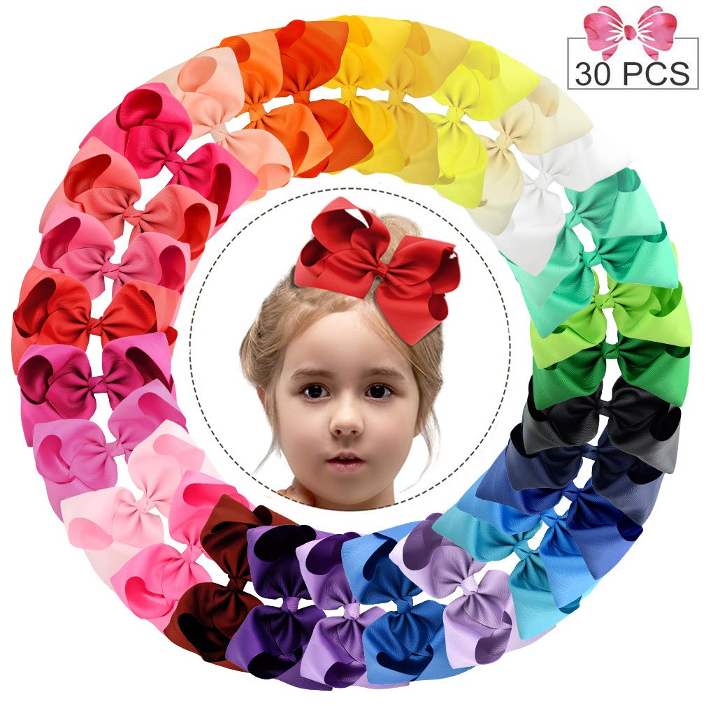 """30pcs Hair Bows for Girls 6"""" Big Boutique Bow Alligator Clips Grosgrain Ribbon Hair Accessories Toddlers Kids Teens"""