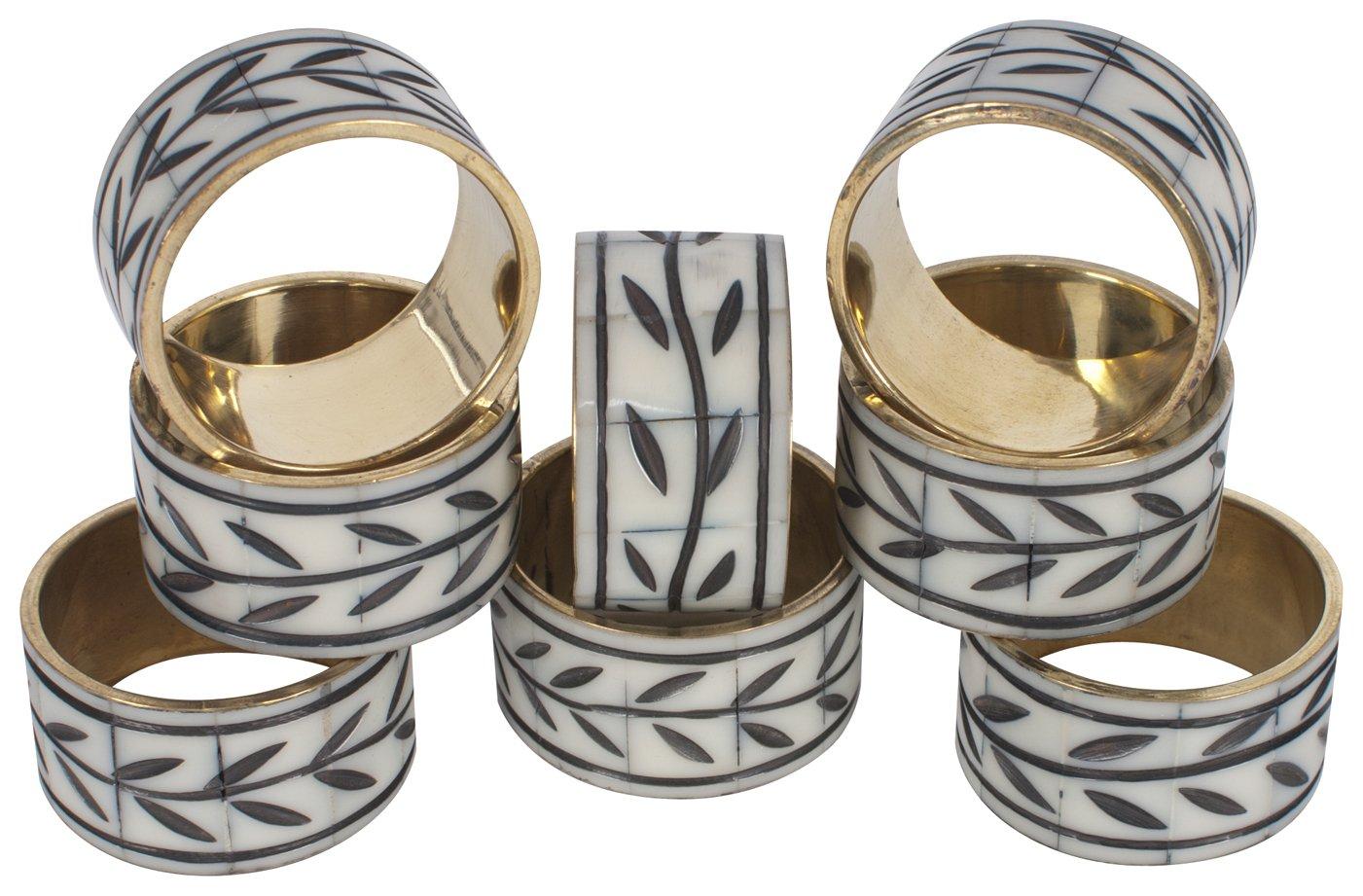 KAF Home Napkin Rings, Etched Vine, Set of 8