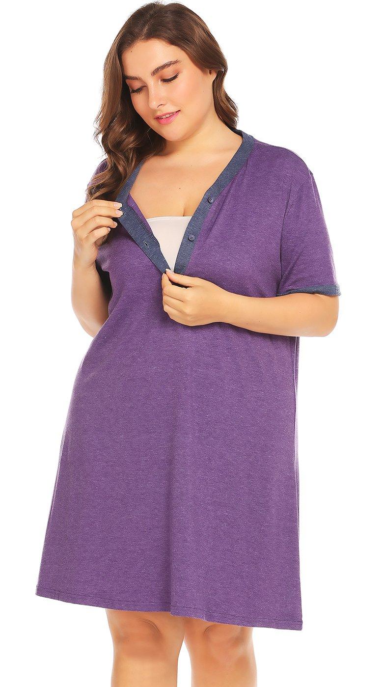 IN'VOLAND Women's Plus Size Maternity Dress Short Sleeve Nursing Nightgown for Breastfeeding Sleepwear LAV006999