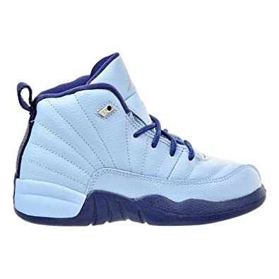 ab640f0fd40 Jordan Air Retro 12 GP Girls Preschool Basketball Shoes Blue Metallic  Silver 510816-418