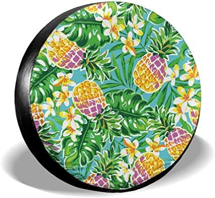 Dreamfy Tropical Fruits Pineapple and Watermelon Spare Tire Cover Universal for Trailer RV SUV Truck Many Vehicle Wheel Weatherproof Wheel Covers Tire Protectors 14 15 16 17 Inch