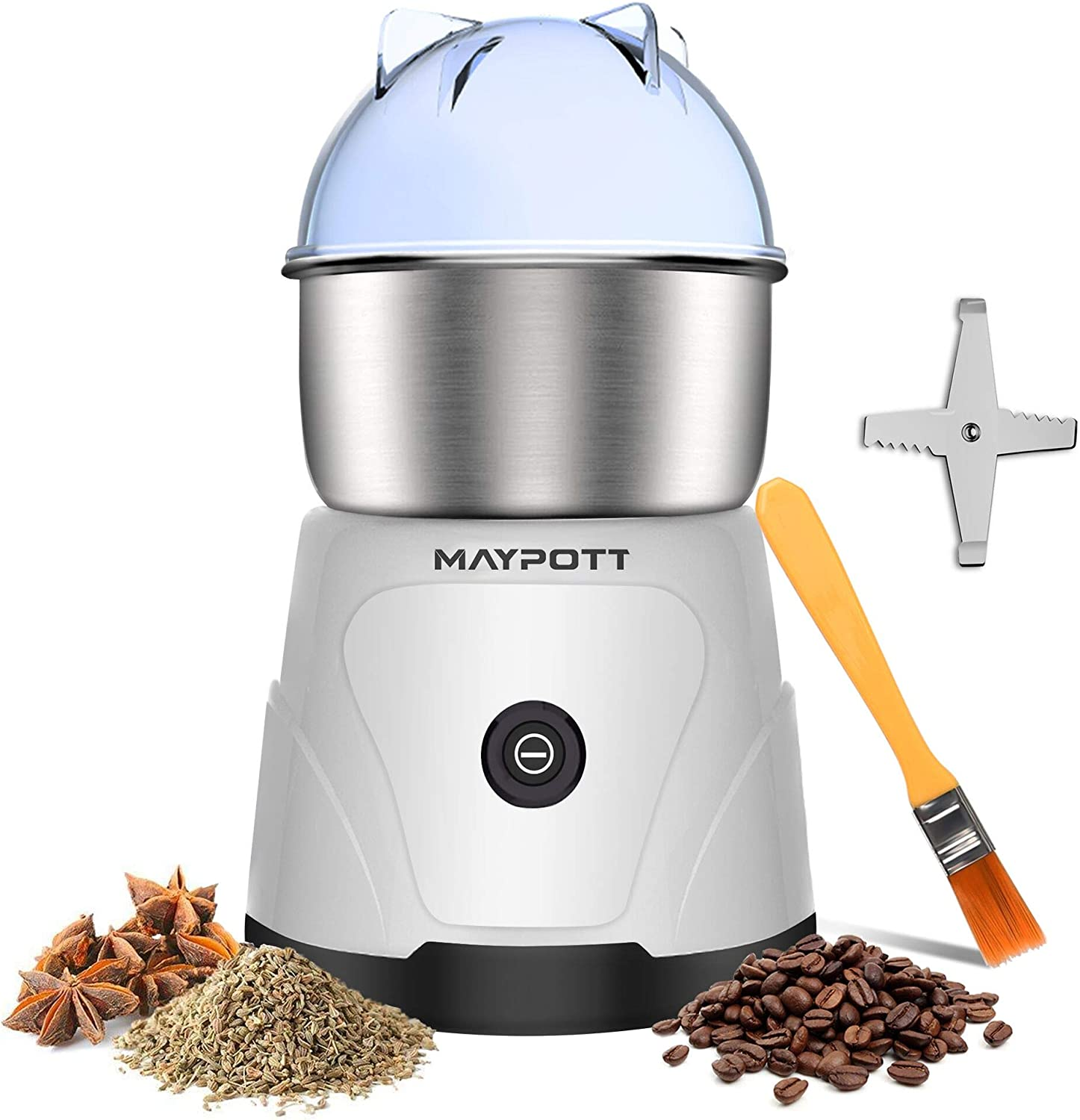 Coffee Grinder Electric Spice Grinder, Maypott 200W Stainless Steel Blade Coffee Bean Grinder 3.5oz Capacity with Cleaning Brush, Electric Mills for Coffee Beans, Spice, Nut, Seeds, Grains(White)