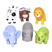 Elegant Baby Bath Time Fun Rubber Water Squirties, Jungle Party