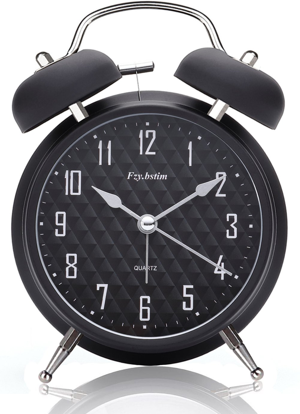 Fzy.bstim 4'' Twin Bell Alarm Clock Battery Operated,with Backlight,Non-ticking Silent Alarm Clocks for Bedrooms,Loud Alarm Clock for Heavy sleepers(Black)