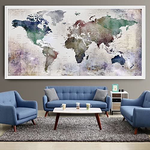 Amazon large world map watercolor push pin push pin travel large world map watercolor push pin push pin travel world map wall art extra gumiabroncs Images