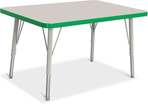 Berries Rectangle Activity Table Standard Leg Toddler 11-15 Tabletop Gray with Truedge and Leg Navy 30 X 60