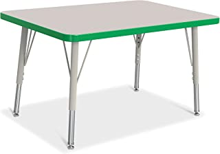 "product image for Jonti-Craft Berries 6413JCE119 Rectangle Activity Table, E-Height (15""-24"" Adjustable Height), 30"" x 72"", Gray/Green/Gray"