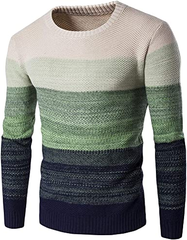 Men Color Blocked Knitted Pullover Slim Bottoming Long Sleeved Sweater