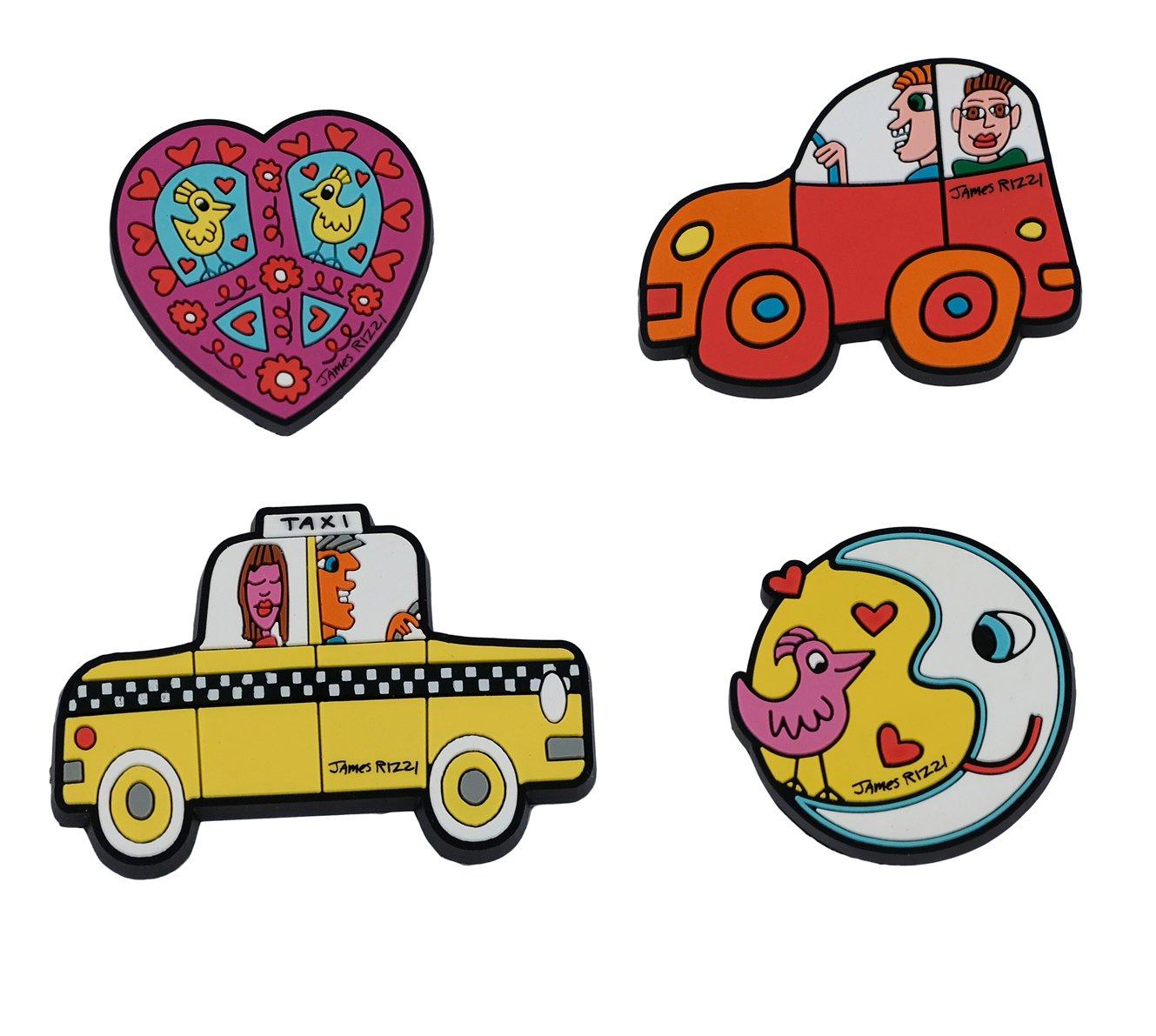 Amazon.de: Goebel 4 Magnete, Kühlschrankmagnete James Rizzi, Car ...
