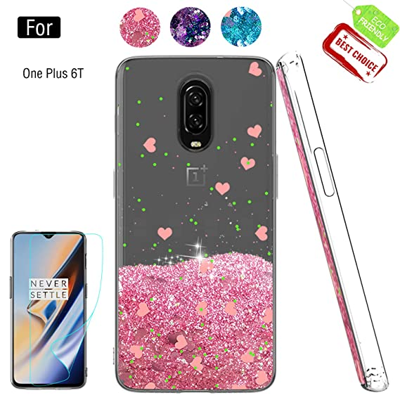 buy online f440e 5928e Compatible with OnePlus 6 Cases with Screen Protector for Girls Women,  Luxury Bling Diamond Quicksand Liquid Clear TPU Protective Phone Case Phone  ...