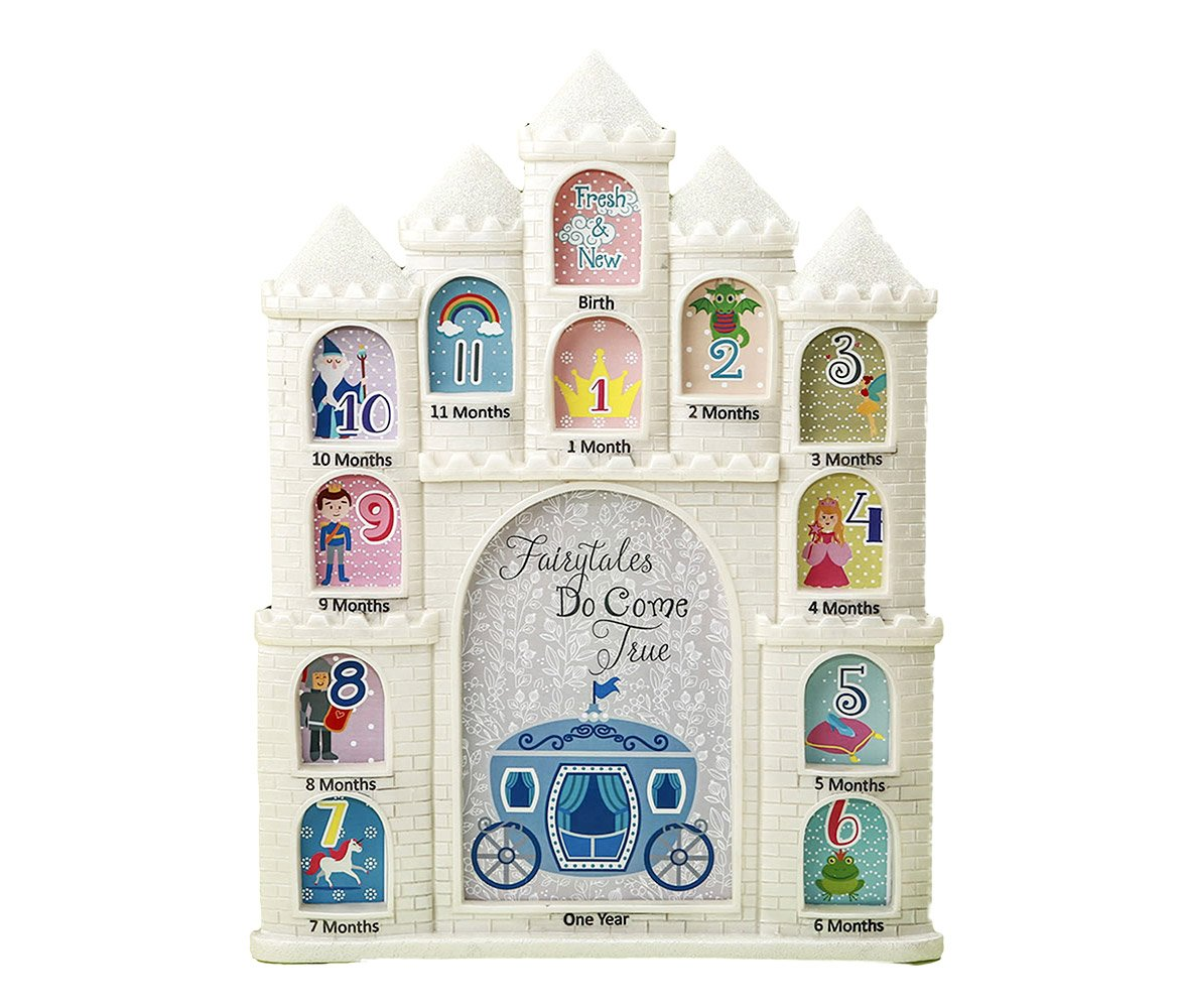 Mozlly White Fairy Tales Do Come True Castle Baby First Year Collage Photo Frame Glitter Finish 12 x 9.5 inch Nursery Room Decor for Little Prince & Princess 1 Month-1 Year Pictures Fashioncraft 12887