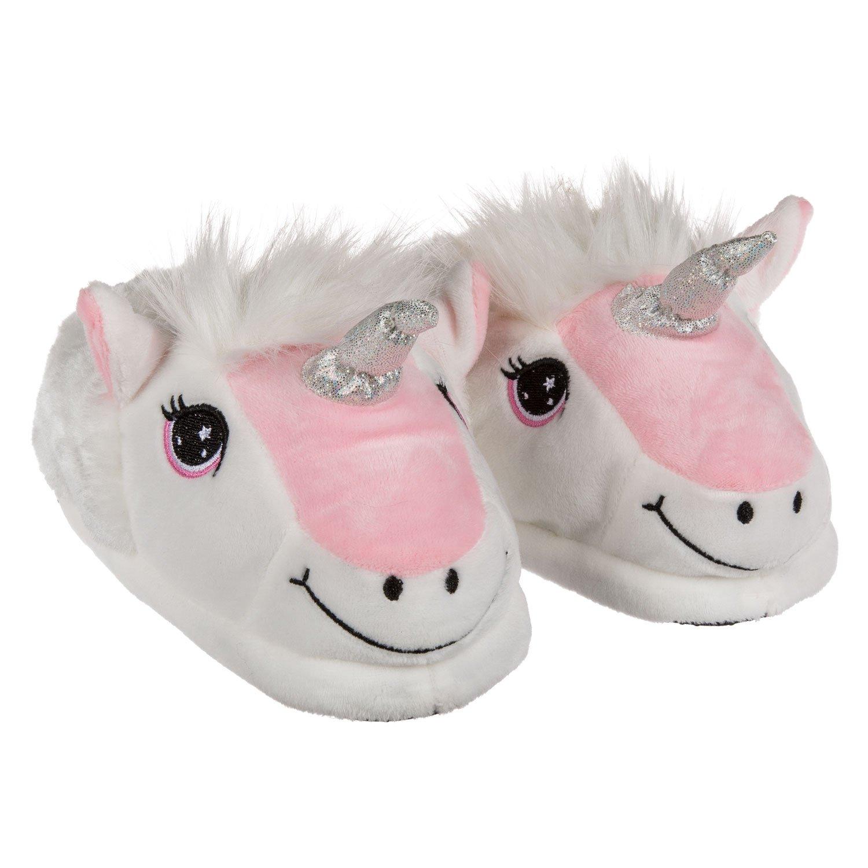 Einhorn Unicorn Kuschel Plüsch Hauschuhe Gr 31-42 Pantoffeln rosa weiß