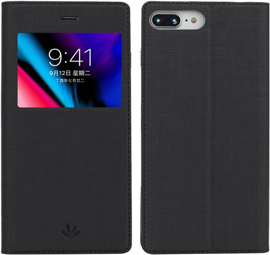 iPhone 7 Plus Case, iPhone 8 Plus Case, Premium Leather PU Flip Folio Wallet Case with View Window Stand Kicstand Card Holder Magnetic Closure TPU Bumper Full Cover Slim Leather Case Feitenn - Black
