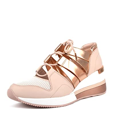 ef53f7c977d9 Michael Kors Michael by Beckett Soft Pink and Rose Gold Cut Out Trainer  38EU 5UK
