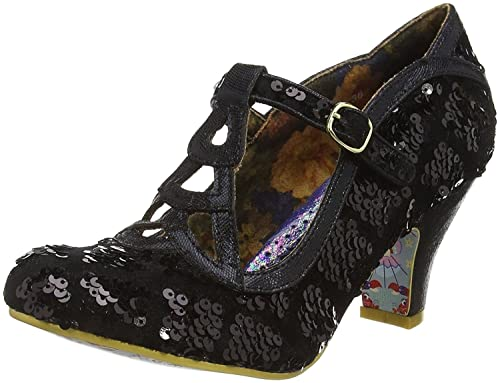 Irregular Choice Nicely Done Black Sequins Womens T Bar Heels B075HXSCQJ