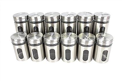 EuroDiscount TT - Especieros de acero inoxidable con visor de cristal y dispensador, 80 ml, 12 unidades