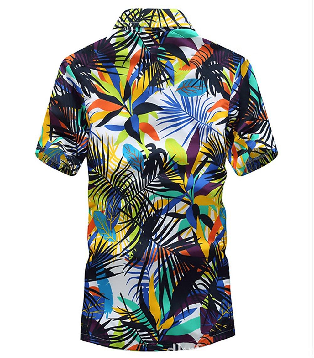 Hombre Camisa Hawaiana Playa De Verano Manga Corta Cuello Solapa Un Solo Pecho Camisas Moda Hippies Hojas Impresión Tops i6N01UNqdD