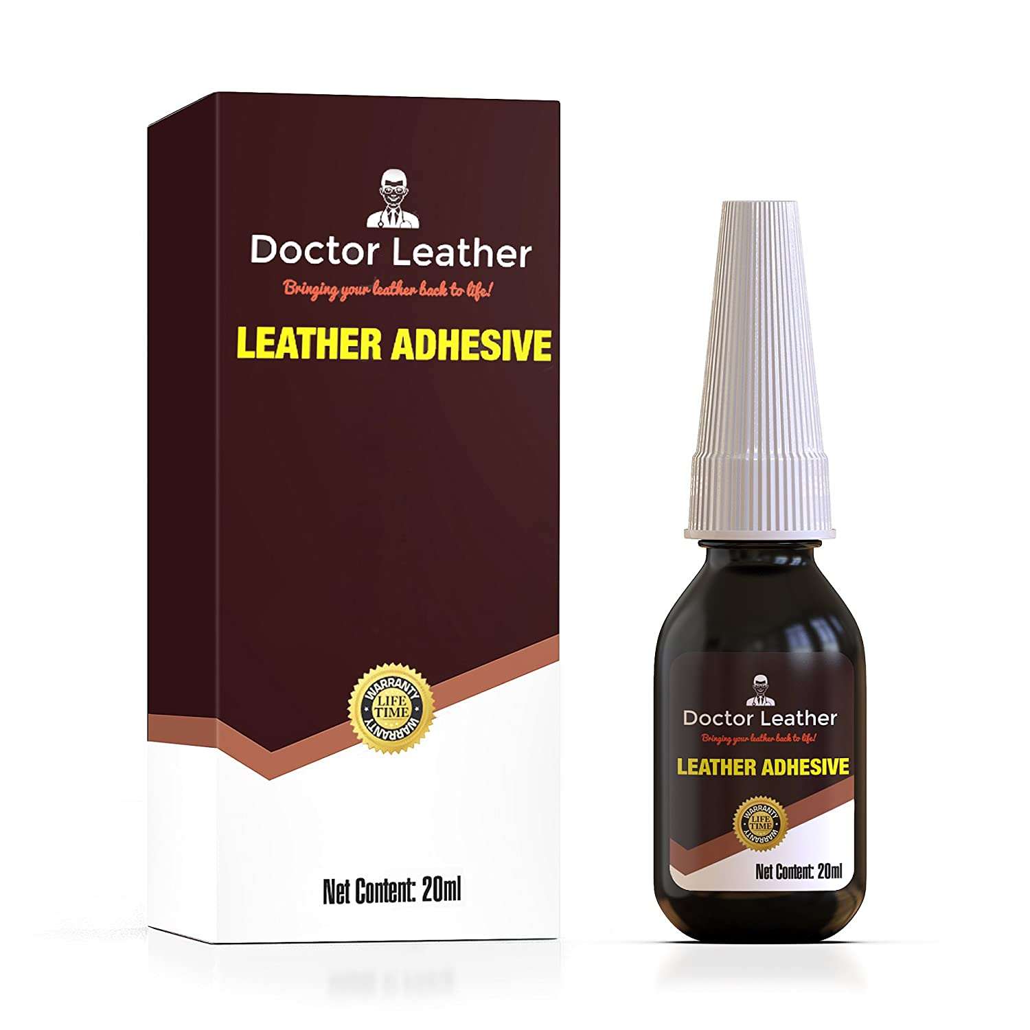 Doctor Leather | Two Pack of Leather, Vinyl and Fabric Adhesive | Non Toxic and Dries Clear | Instant Drying Latex Based Glue | 0.7fl oz per Bottle