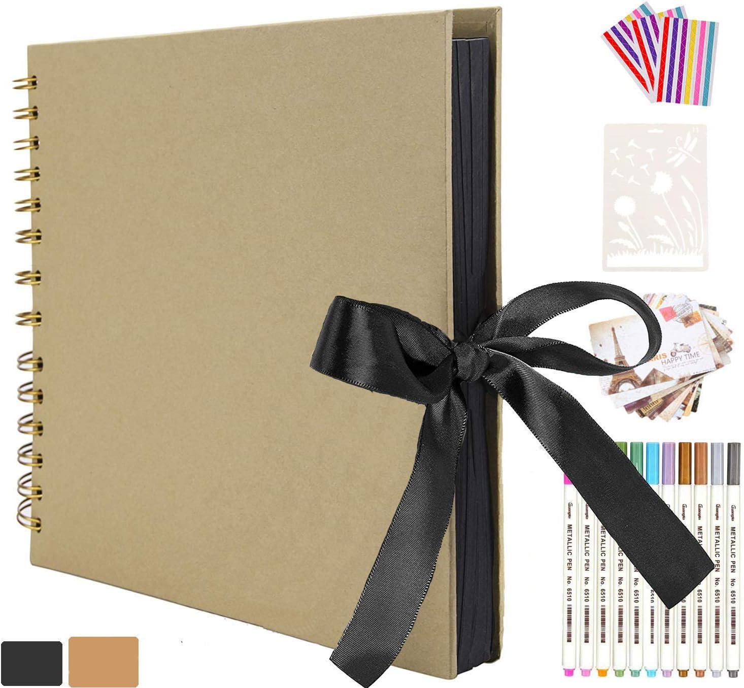AIOR Album de Fotos Scrapbook Espiral, 80 Páginas Negras (40 Hojas), DIY Álbum de Recortes Original para Boda Aniversario de Boda de Oro Cumpleaños Navidad para Mujer Niña Novia Regalos (Amarillo)