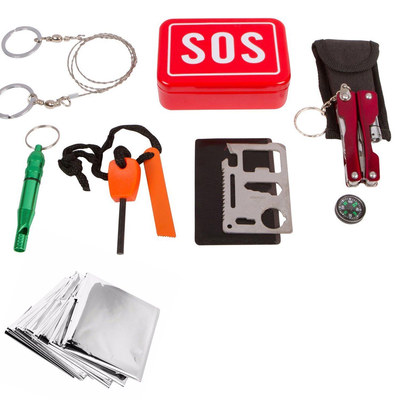 Vdealen SOS Kit Autoayuda Camping Deportes Excursionismo Supervivencia de Emergencia Cuadro de