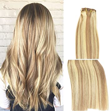 Amazon Com Vario Clip In Hair Extensions Human Hair Double Weft