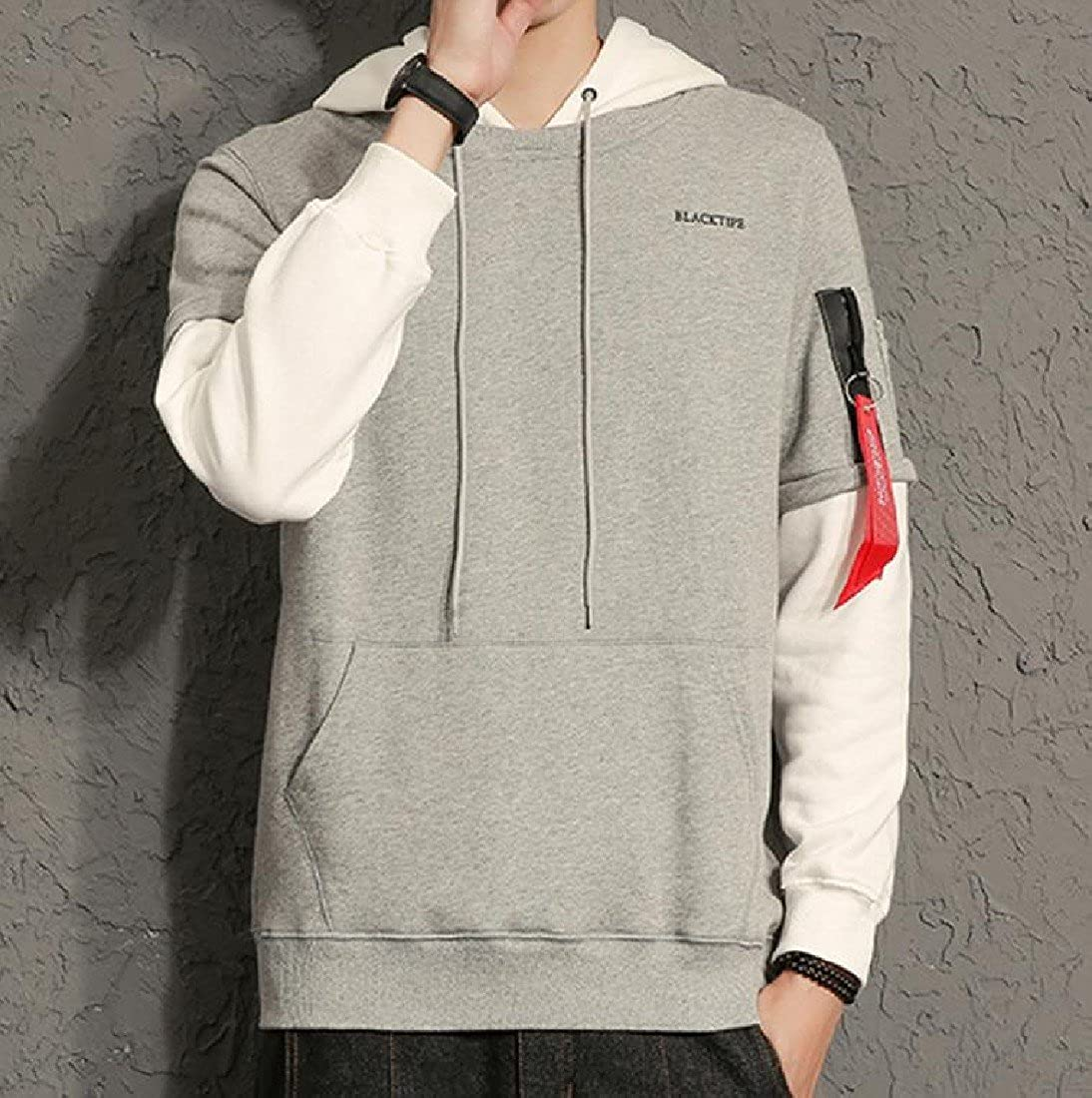 Sheng Xi Mens Loose Fit Splice Big Pockets Thin Hoodies Tops Outwear