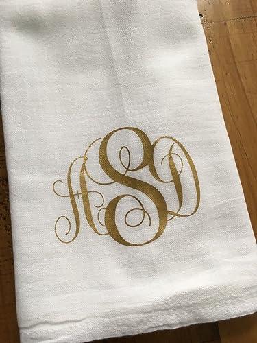 Monogrammed Kitchen Towel   Personalized Gold 3 Letter Custom Script  Monogram   Housewarming