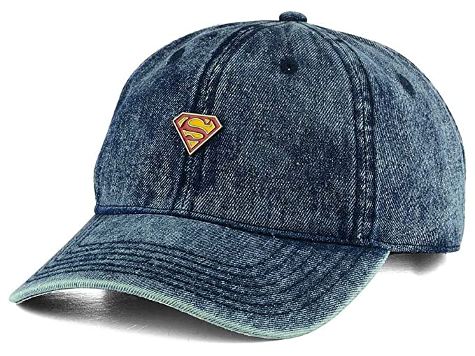 more photos 73c27 eec4d Image Unavailable. Image not available for. Color  Superman Men s DC Comics  Metal Pin Dad Denim Hat Cap - Wash Blue