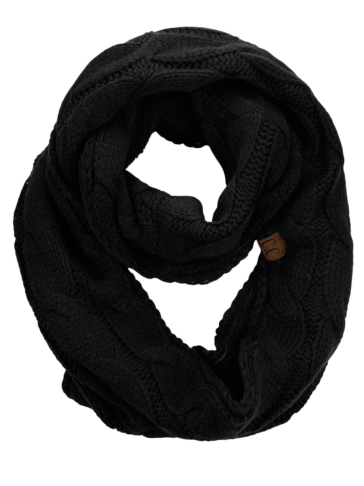 C.C Women's Winter Cable Knit Sherpa Lined Warm Infinity Pullover Scarf