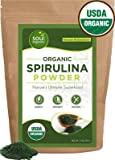 Spirulina Powder Organic and Pure - Premium Blue Green Spirulina Algae Powder for Natural Energy and Nutrition - USDA Certified Organic