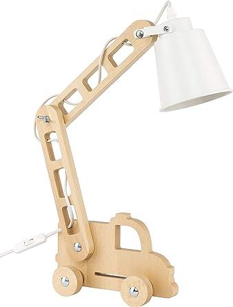 Lámpara de escritorio madera niños lectura Bombilla E27 Retro ...