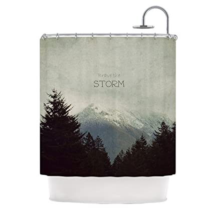 69 x 70 Shower Curtain Kess InHouse Pallerina Design Holiday Berry Twigs Red Tan Floral Nature