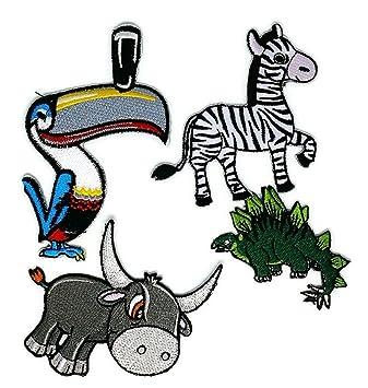 Juego de 4 parches bordados para coser o planchar con diseño de cebra de búfalo de animal ...