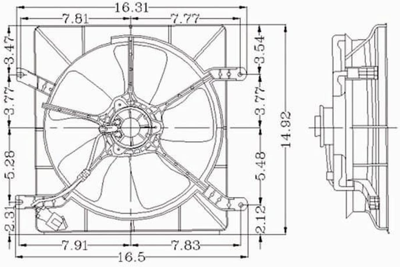 CPP Radiator Cooling Fan Assembly for 94-97 Honda Accord HO3115104