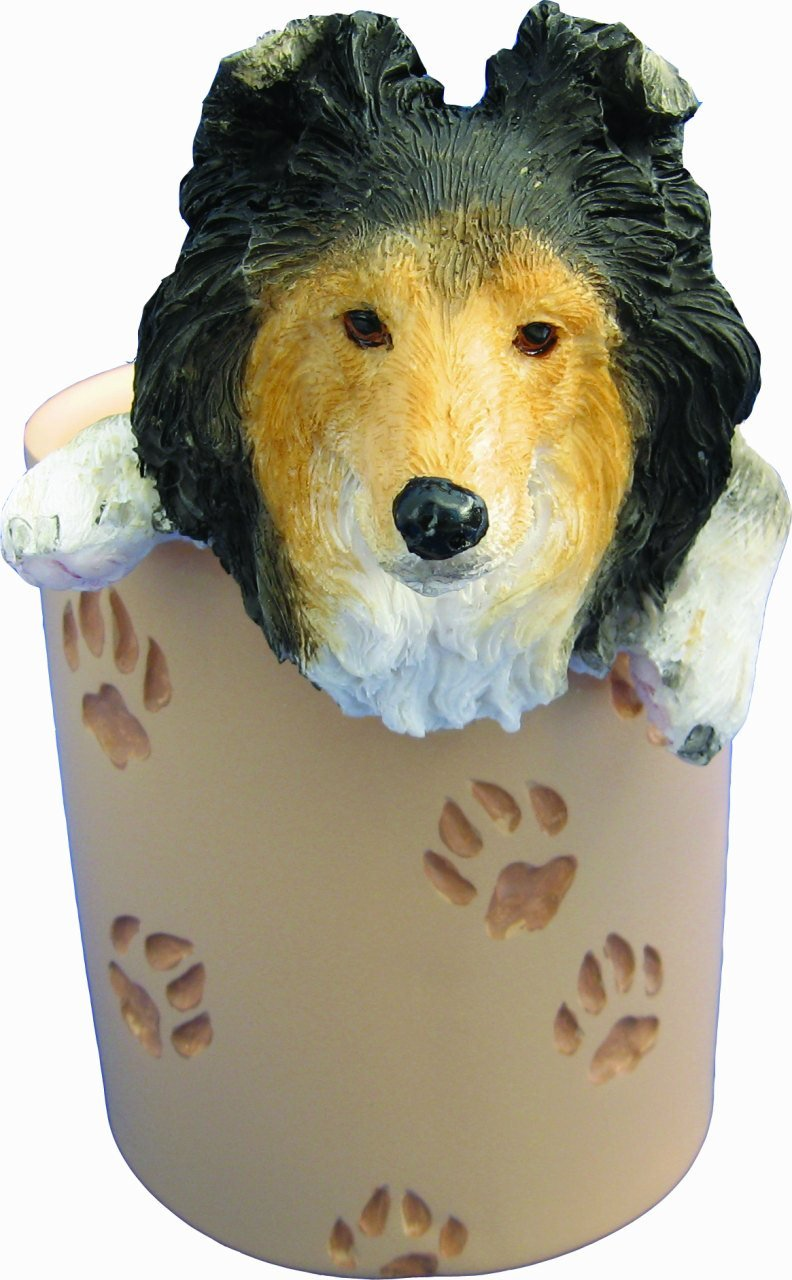 Sheltie Pencil Cup Holder with Realistic Hand Painted Sheltie Face and Paws Hanging Over Cup, Uniquely Designed Sheltie Gifts, A Convenient Organizer for Home or Office, One Of A Kind Pen Holder