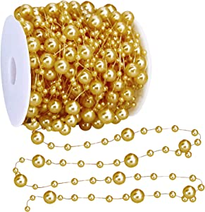 TURNMEON 66 Feet Christmas Beads Garland Decoration 2 Sizes Pearl Strands Chain for Christmas Tree Decoration Indoor Outdoor Home Mantle Fireplace Holiday Decor (Gold)