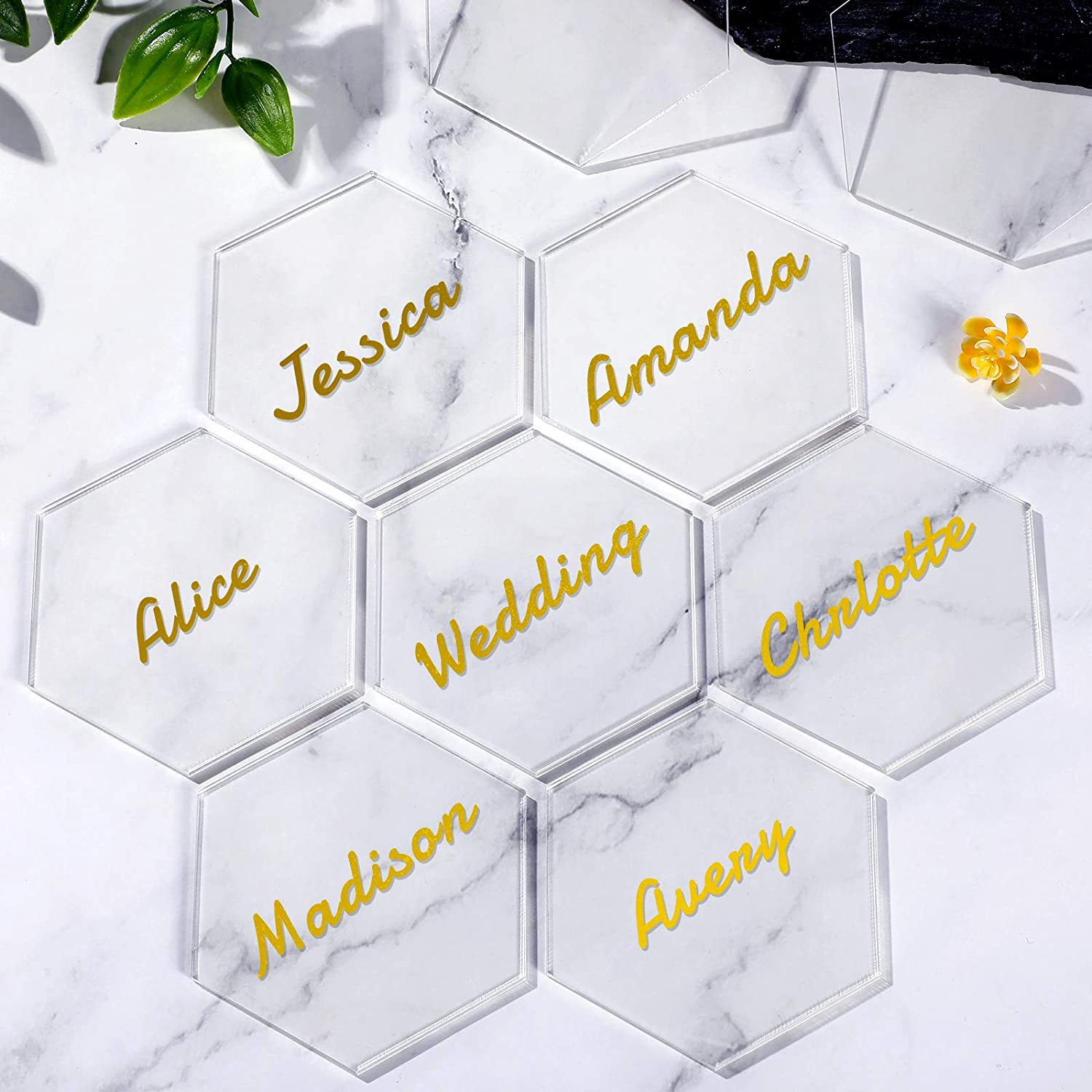 Yookeer 25 Pieces Clear Hexagon Acrylic Place Card Blank Seating Cards Guest Chart Escort Plates Tiles Name Cards for Wedding Birthday Party Banquet Food Sign Decoration