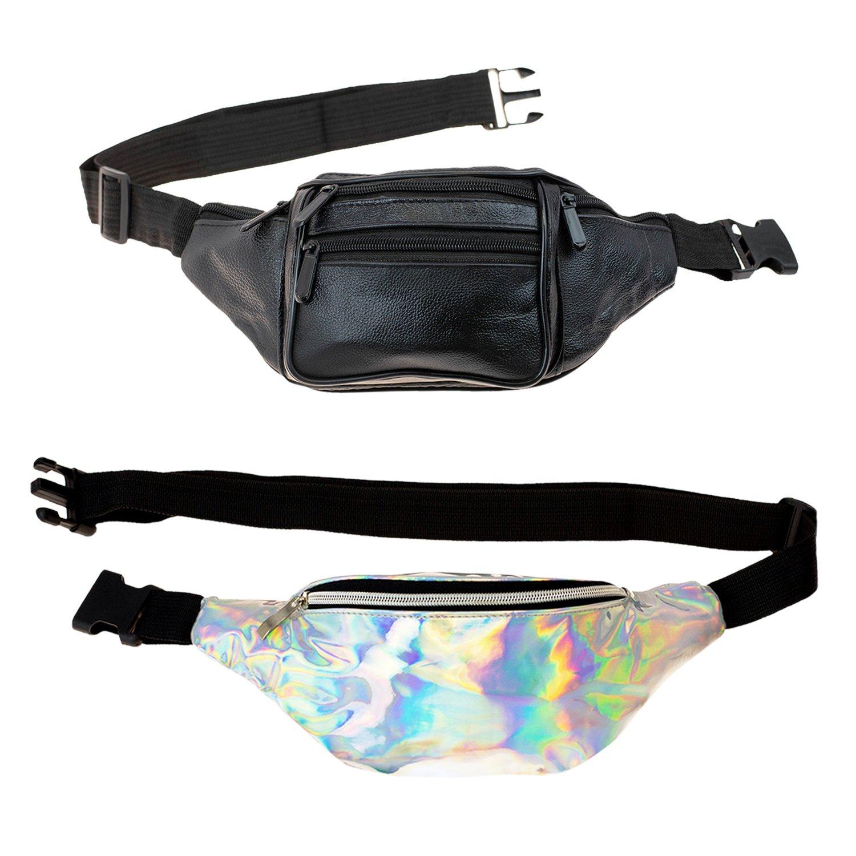 Travel Fanny 2 Pack Money Belt - Rave Waist Bag for Women and Men, Silver, Black Leather