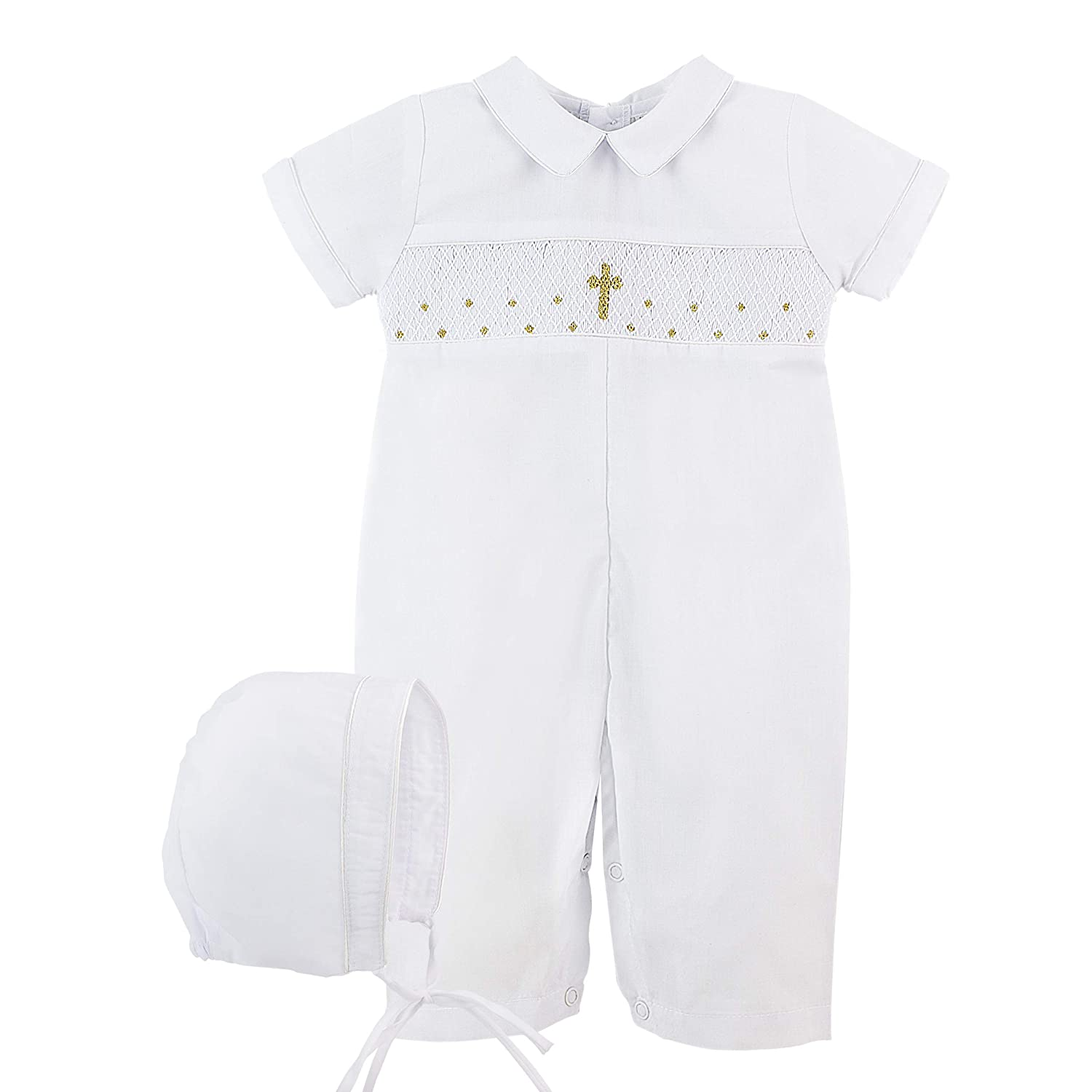White Carriage Boutique Baby Boy Hand Smocked Christening//Baptism Gold Cross Longall with Bonnet