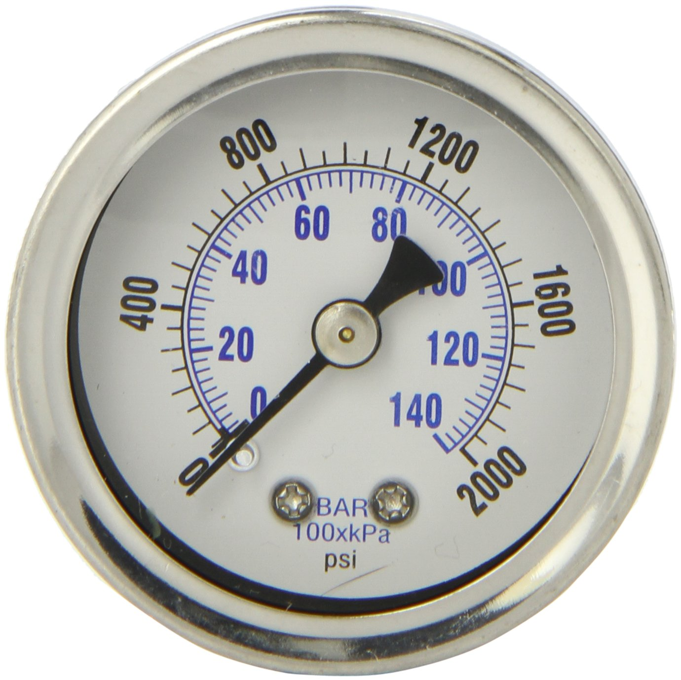 PIC Gauge 202L 158O 1.5 Dial 0 2000 psi Range 1 8 Male NPT Connection Size Center Back Mount Glycerine Filled Pressure Gauge with a Stainless Steel Case Brass Internals Stainless Steel Bezel and Polycarbonate Lens