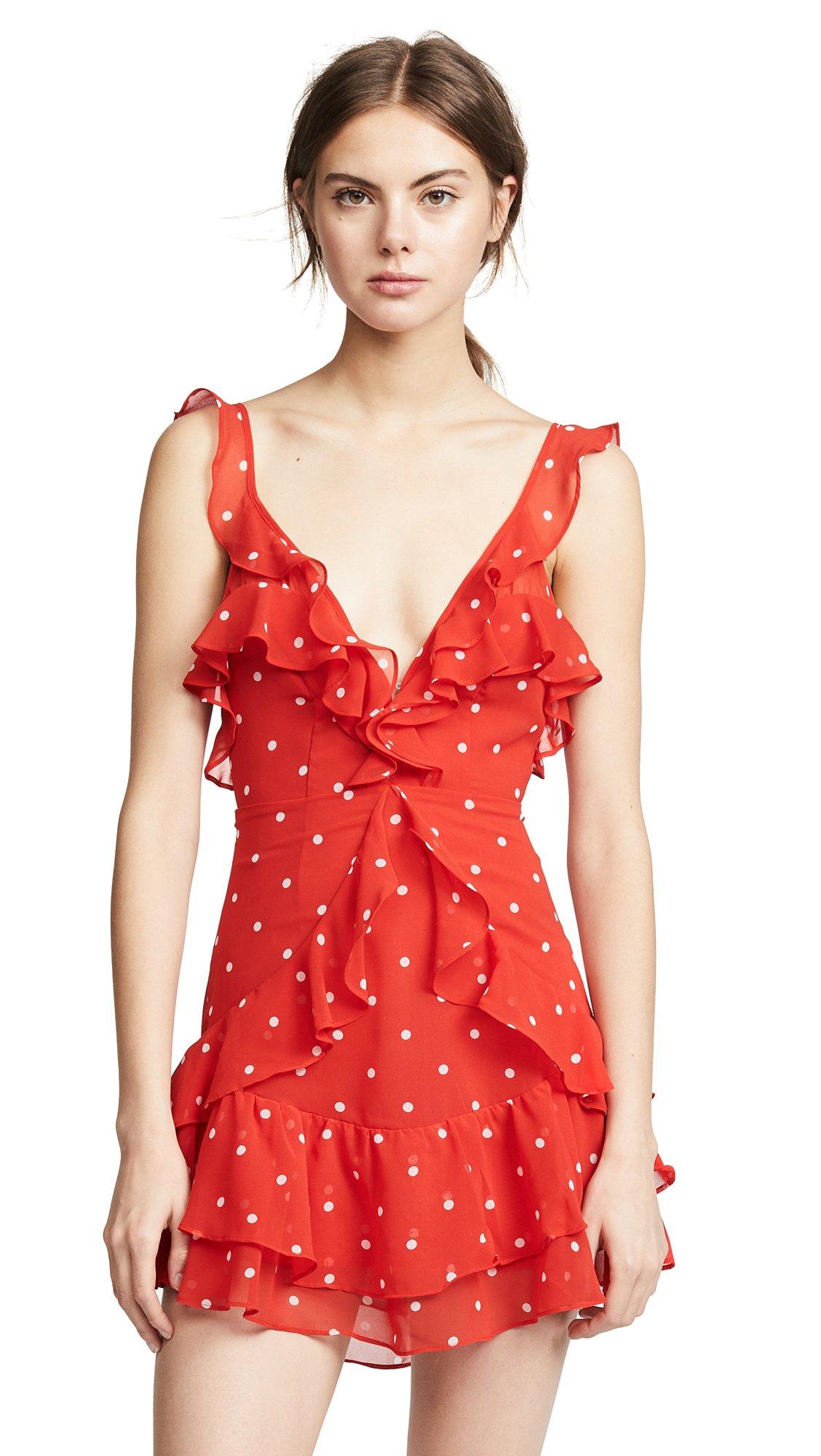 For Love & Lemons Women's Analisa Polka Dot Tank Dress, RedDot, S