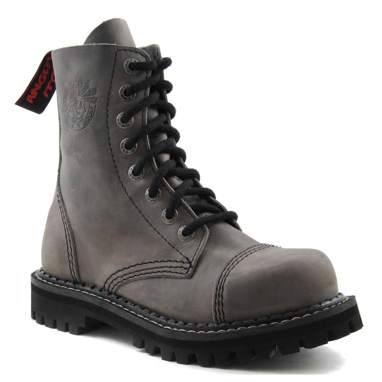 ANGRY ITCH Kampfstiefel Unisex Herren Damen Leder Grau Vintage 8 Löcher Army Militärstiefel Punk Stahlkappe