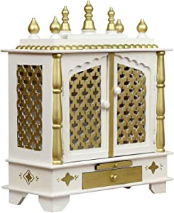 Indian Handicrafts Export Wooden Temple/Pooja Mandir for Home, 24x12x30 Inches(SRHD713-WHITE-L)